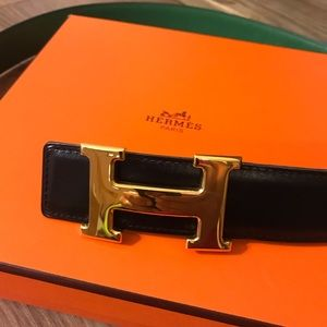 NWOT Authentic Hermes Black Green H removable belt